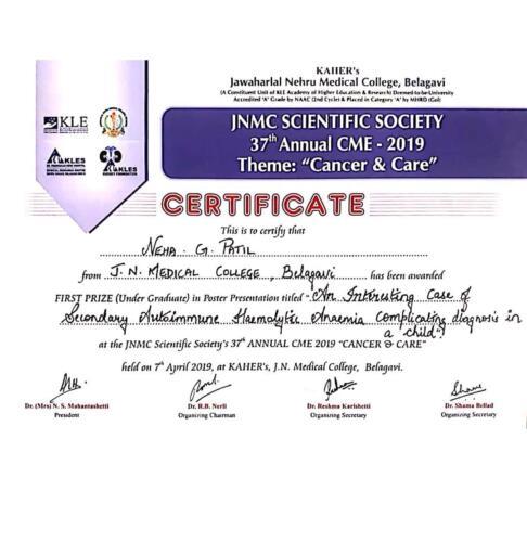 04-2019-Dr. Neha Patil 4th award