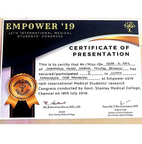 05-2019-Dr. Neha Patil 3rd Award