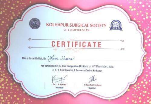 20-2019-Dr. Dron Sharma 1st Prize Quiz- Kolhapur