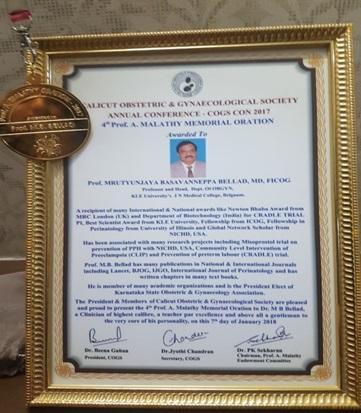 36-2018-4th Malathy Award Dr. M. B. Bellad