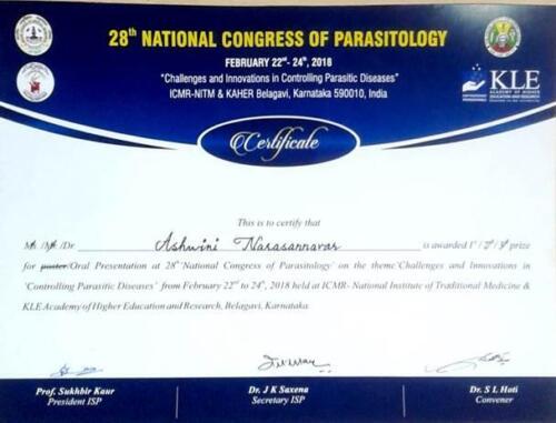 48-2018 Best Paper Award Dr. Ashwini