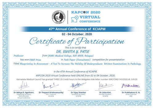 7.2020-Dr. Sunita Y. Patil, KCIAPM BEST Paper Certificate