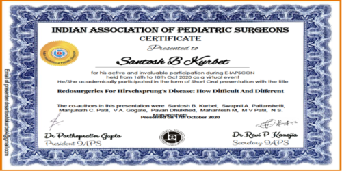 Awards won by Paediatric Surgery department faculties